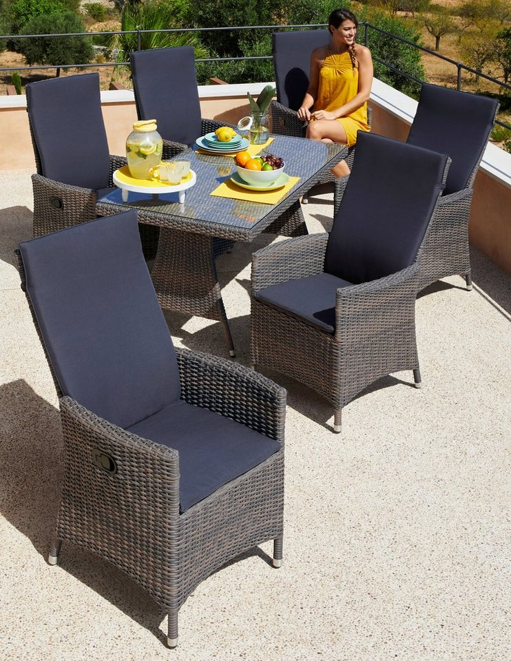 gartenm belset ravello 13 tlg 6 sessel tisch 150x80 cm polyrattan grau beige online. Black Bedroom Furniture Sets. Home Design Ideas