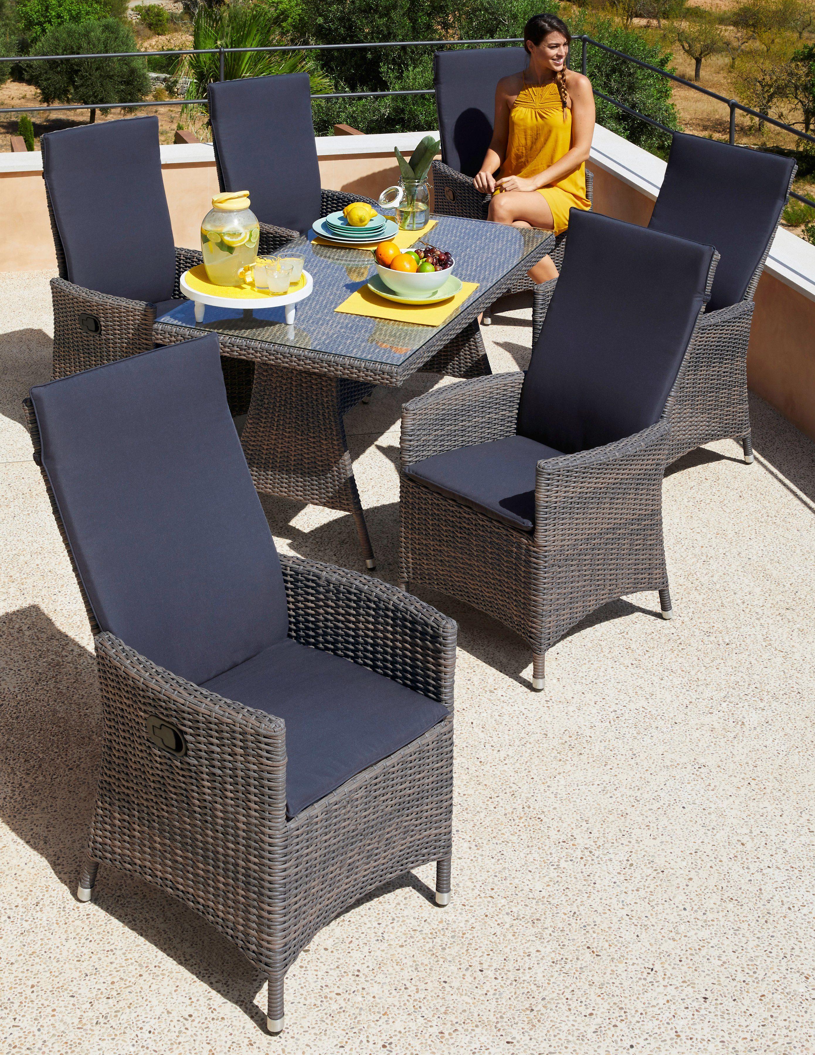 Gartenmöbelset »Ravello«, 13-tlg., 6 Sessel, Tisch 150x80 cm, Polyrattan, grau-beige