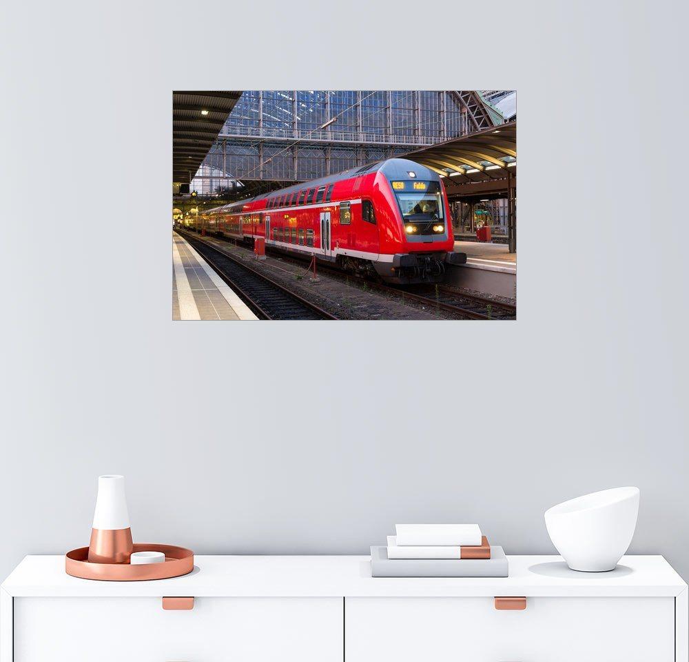 Posterlounge Wandbild »Zug im Frankfurter Bahnhof« | Dekoration > Bilder und Rahmen > Bilder | Holz | Posterlounge