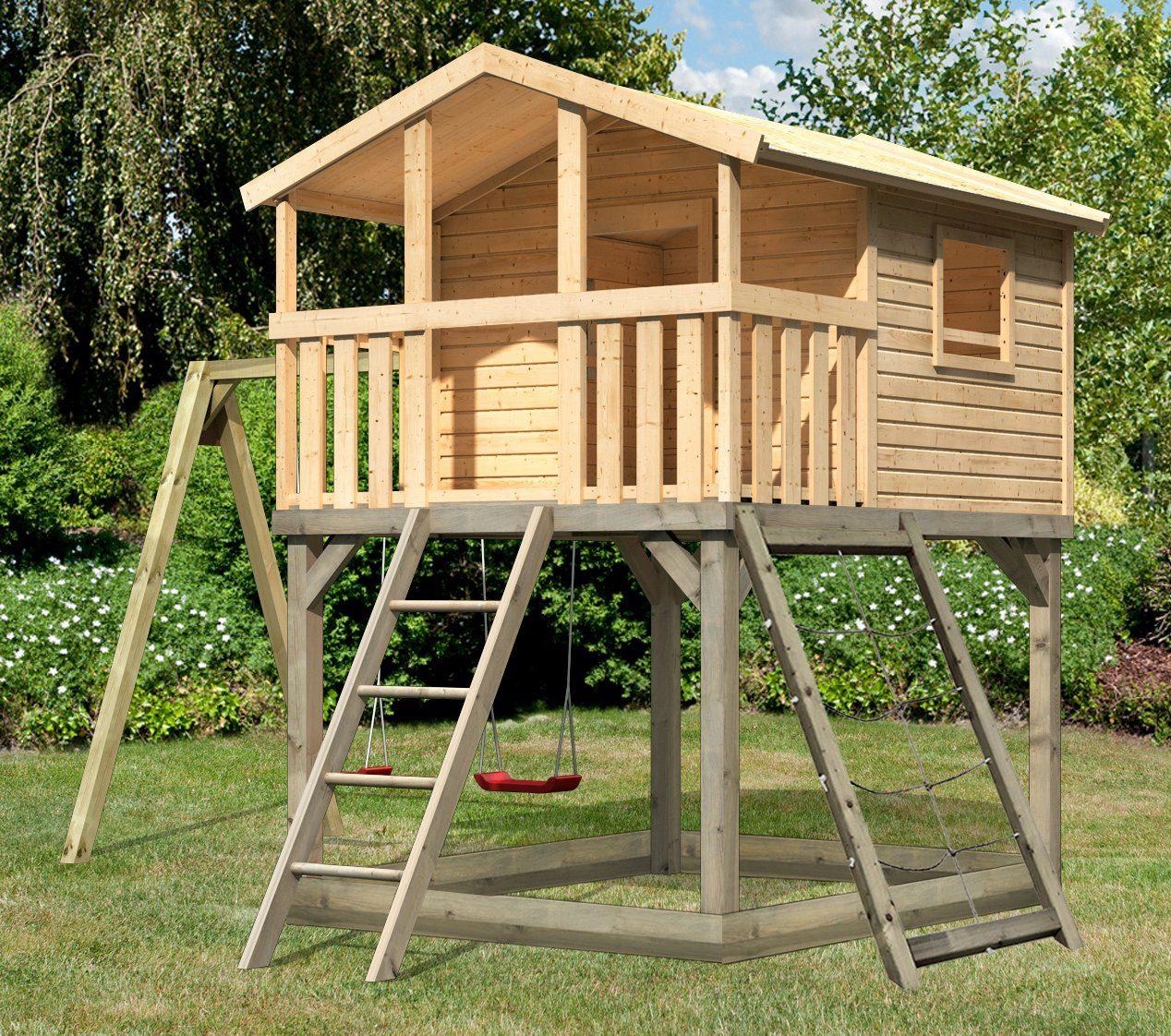 KARIBU Spielturm »Unfug 11«, BxT: 470x339 cm, mit Sandkasten, Doppelschaukel, Netzrampe
