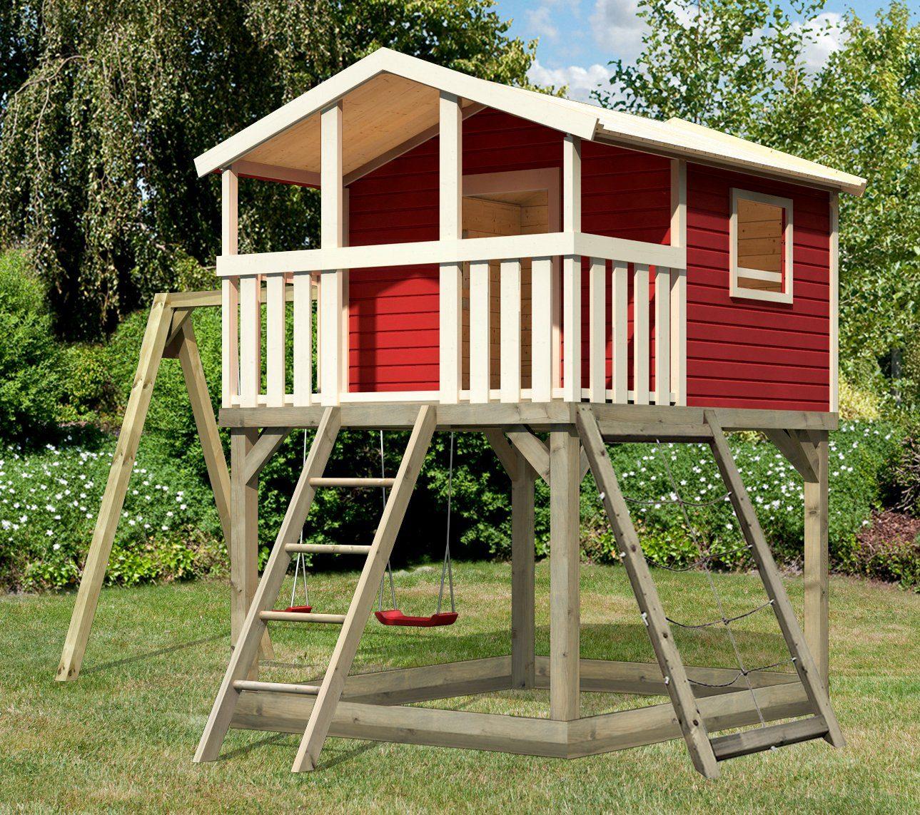 KARIBU Spielturm »Unfug 17«, BxT: 470x339 cm, mit Sandkasten, Doppelschaukel, Netzrampe