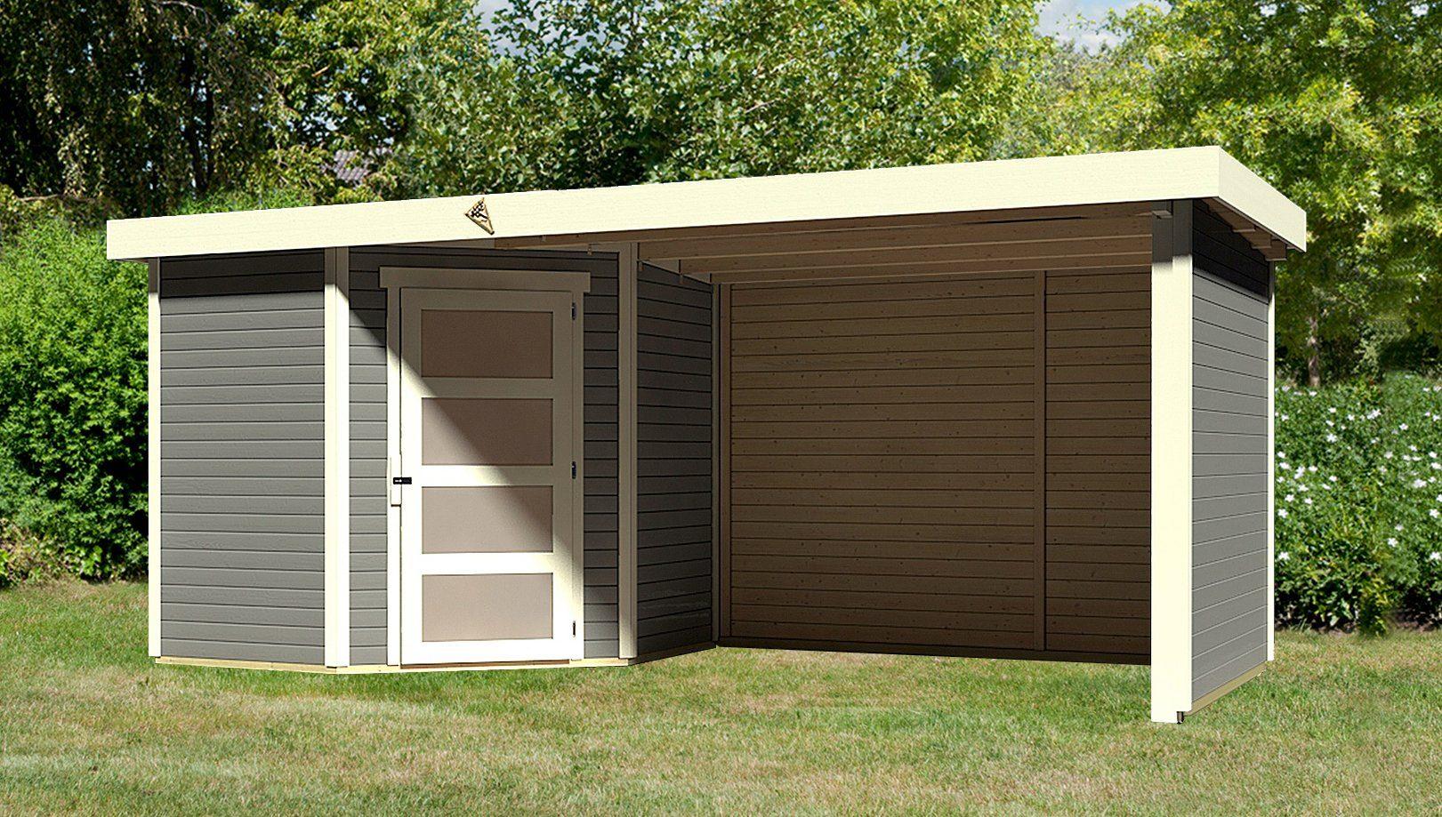 KARIBU Set: Gartenhaus »Schwandorf 3«, BxT: 505x238 cm, inkl. Anbaudach mit Seiten- und Rückwand