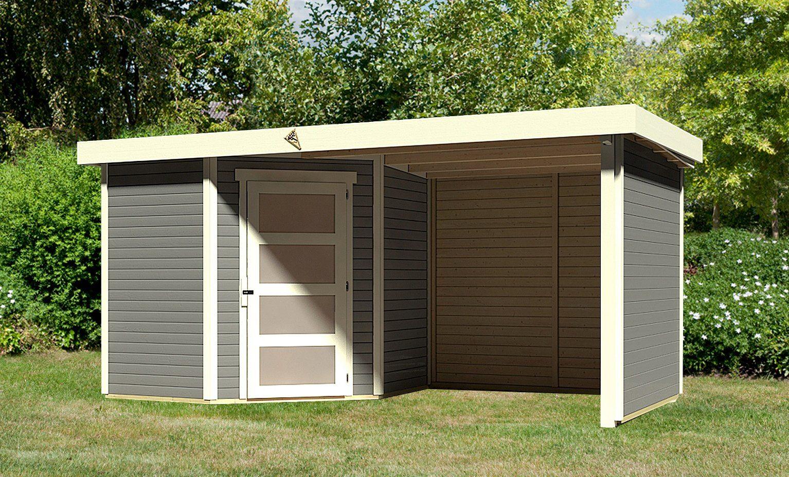 KARIBU Set: Gartenhaus »Schwandorf 5«, BxT: 493x262 cm, inkl. Anbaudach mit Seiten- und Rückwand