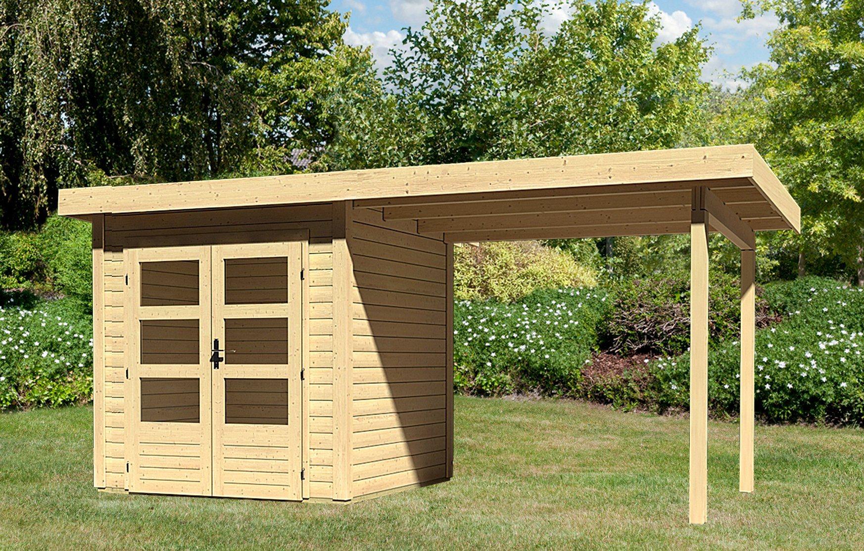 KARIBU Gartenhaus »Kandern 1«, Gesamtmaß (BxT): 482x232 cm, mit Anbaudach | Garten > Gartenhäuser | Karibu