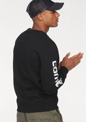 Converse Sweatshirt CONVERSE MIXED MEDIA CREW, Kängurutasche mit gewebtem Stoff verkleidet