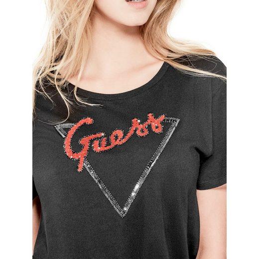 Guess T-shirt Paillettenlogo Vorn