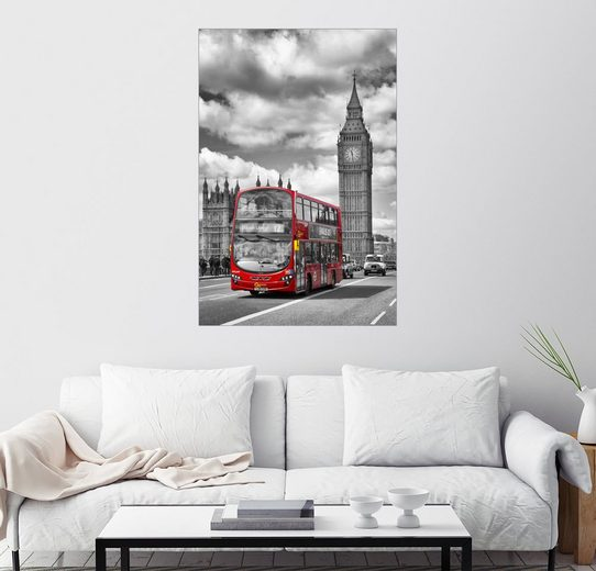 Posterlounge Wandbild - Melanie Viola »Big Ben and Red Bus«