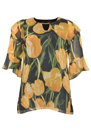 Yoek Chiffon Blouse Tulips, With Floral Print