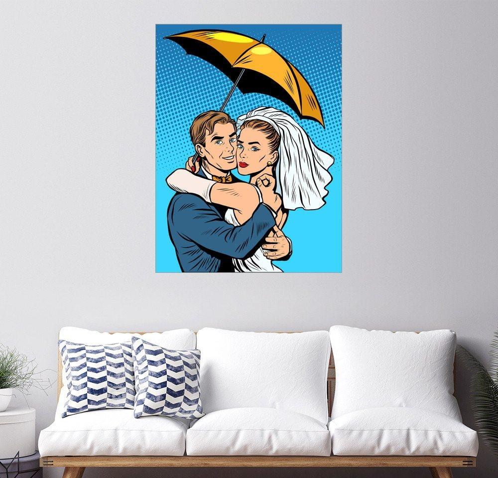 Posterlounge Wandbild »Braut und Bräutigam unter einem Regenschirm« | Dekoration > Bilder und Rahmen > Bilder | Holz | Posterlounge