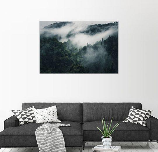 Posterlounge Wandbild - Oliver Henze »Mystische Wälder mit Nebel«