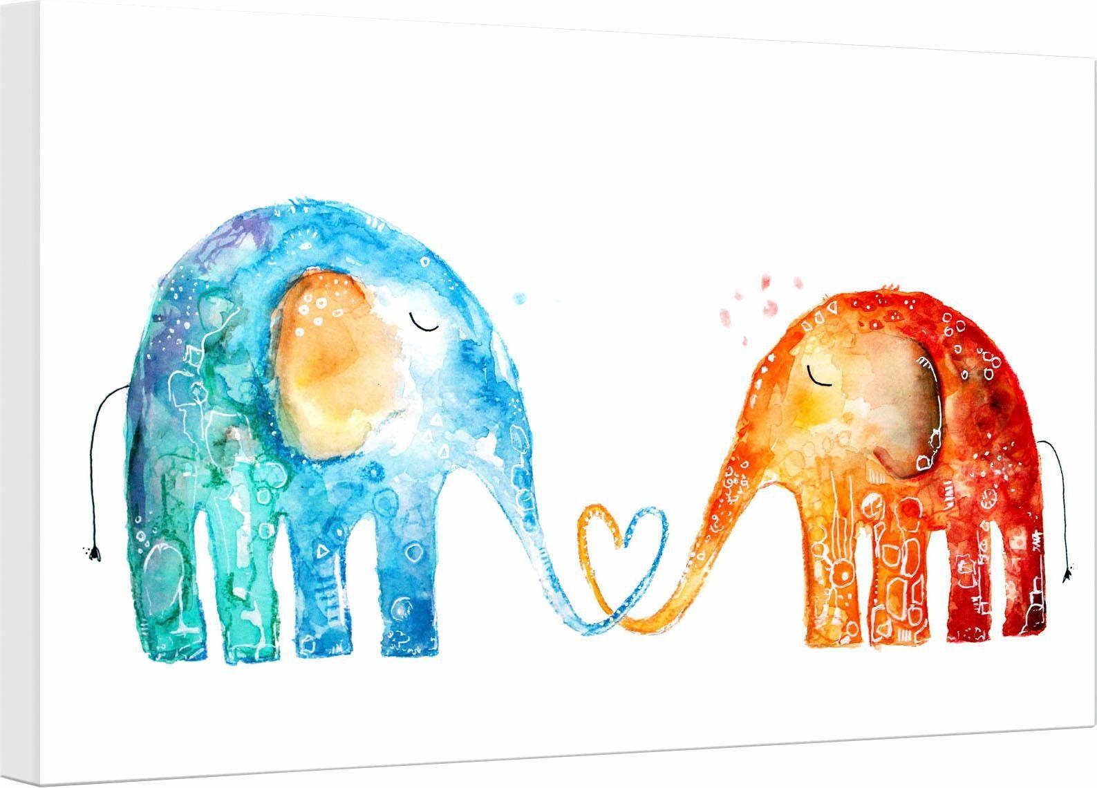 Leinwandbild »Hagenmeyer - Elefantenliebe«, Elefanten, 45/30 cm