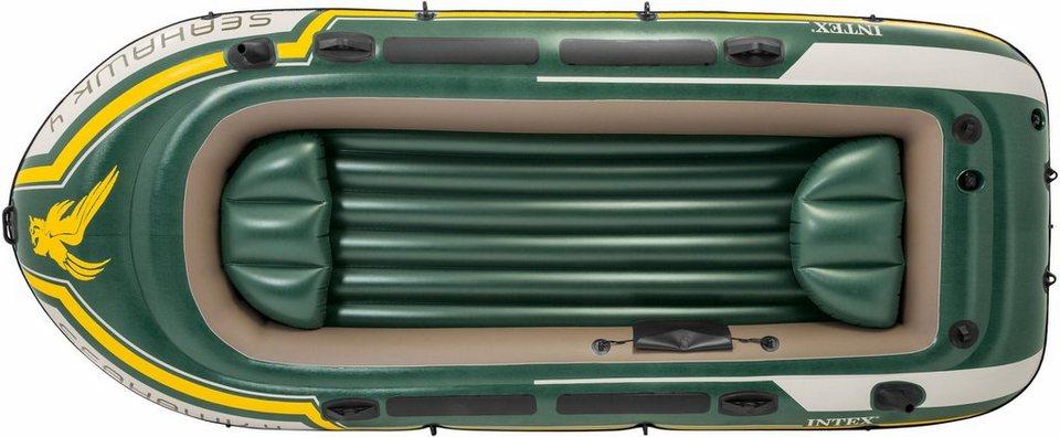 intex schlauchboot seahawk 4 set mit 2 paddeln und. Black Bedroom Furniture Sets. Home Design Ideas