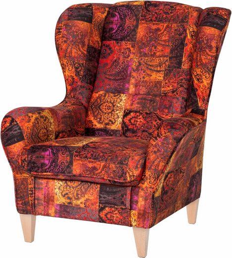 INOSIGN Sessel, in samtartigem Bezug,mit und ohne Hocker