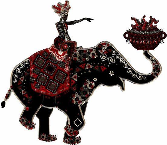 Wandtattoo »Metallic Elephant Ride«