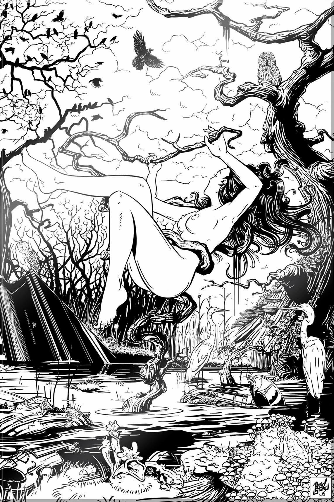 Acrylglasbild »Drawstore - Swampland«, Frau, Baum, 40/60 cm