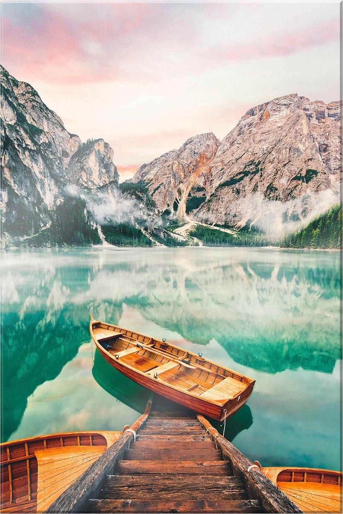 Acrylglasbild »Lago die Braies«, Landschaft, 70/100 cm