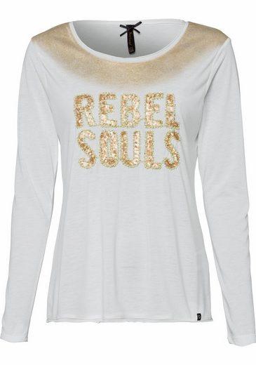 Key Largo Langarmshirt Rebel Soul, mit Pailletten und glänzendem Druck