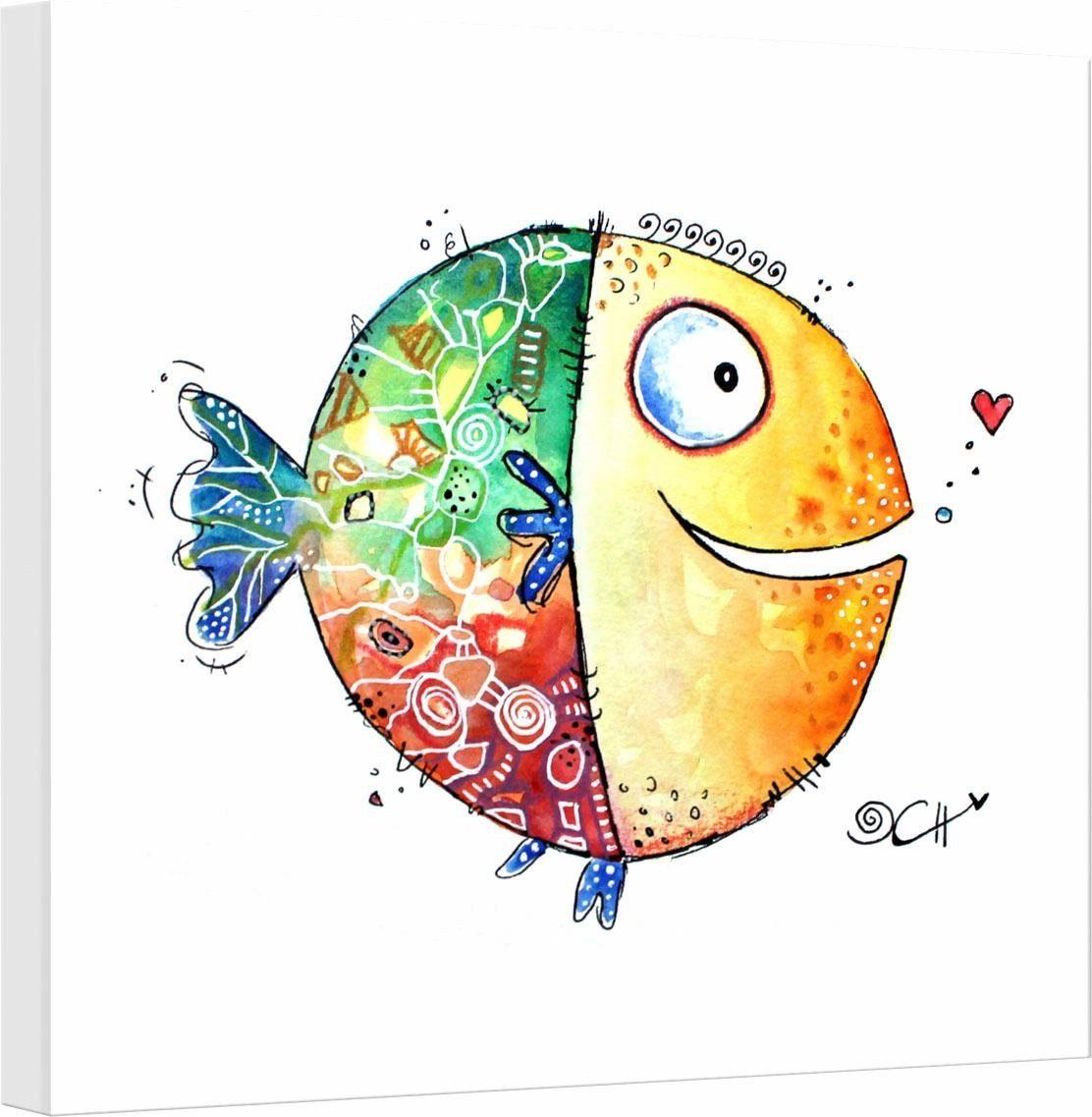 Leinwandbild »Hagenmeyer - Happy Fish«, 40/40 cm