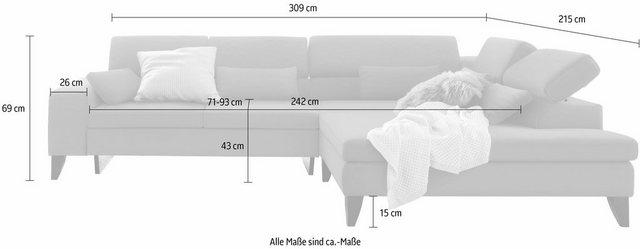 Sofas - GALLERY M Ecksofa »Felicia«, mit Holzfuß, wahlweise mit manuellem oder motorischem Sitzvorzug  - Onlineshop OTTO