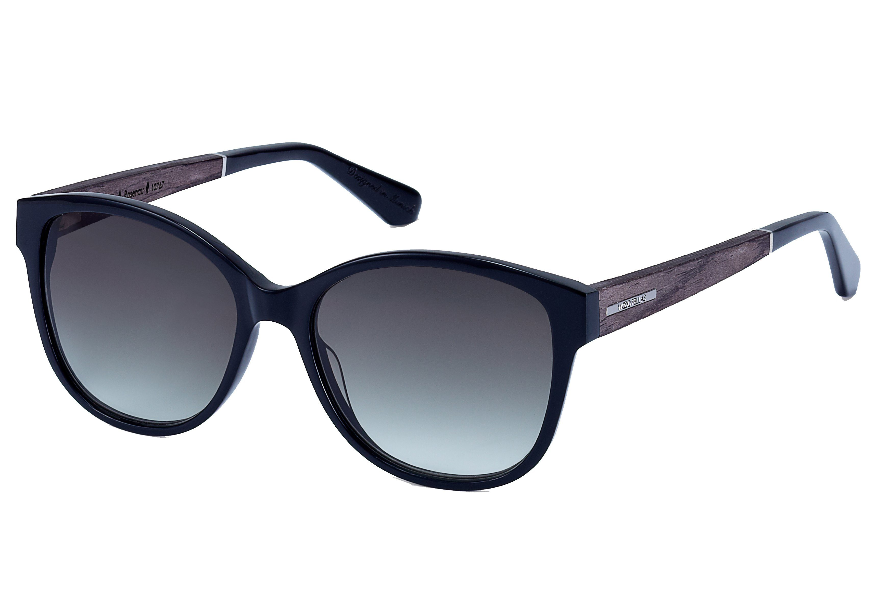 WOOD FELLAS Damen Damen Sonnenbrille inkl. Faltetui und Microfasertuch, schwarz