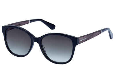 WOOD FELLAS Damen Damen Sonnenbrille inkl. Faltetui und Microfasertuch, grau