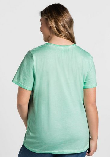 sheego Casual T-Shirt, in Oil-Washed-Optik, jedes Teil ein Unikat