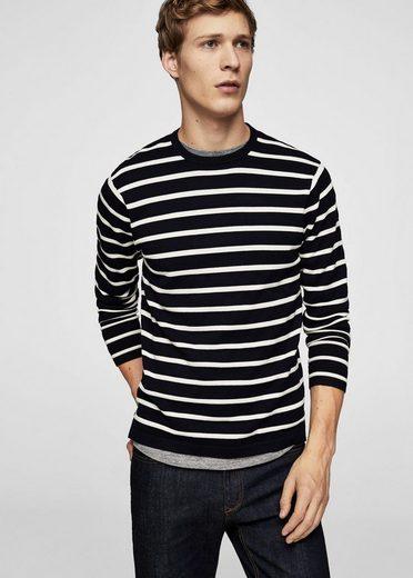 MANGO MAN Pullover mit Streifenstruktur