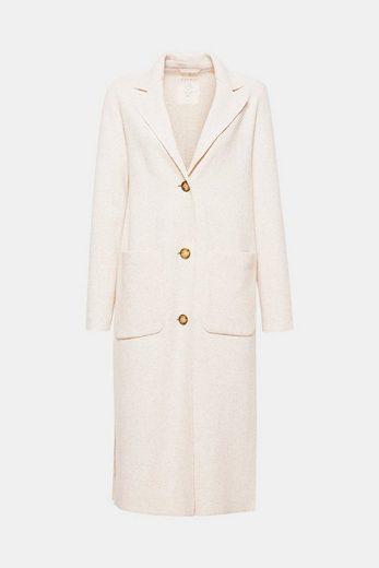 ESPRIT Langer Mantel aus feinem, festem Strick