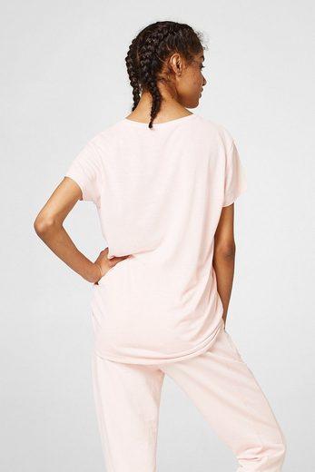 ESPRIT V-Neck-Shirt mit buntem Logo-Print