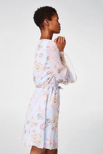 ESPRIT Geblümtes Kleid aus zartem Crinkle-Chiffon