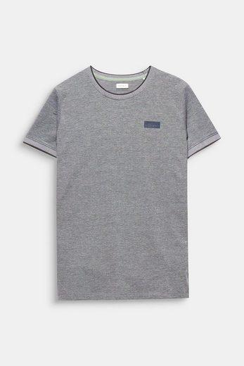 ESPRIT T-Shirt aus zweifarbigem Piqué