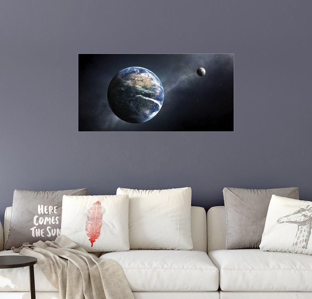 Posterlounge Wandbild - Johan Swanepoel »Erde und Mond aus dem Weltall«   Dekoration   Holz   Posterlounge
