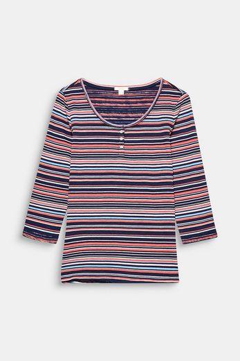 ESPRIT Slub-Shirt mit Print, 100% Baumwolle