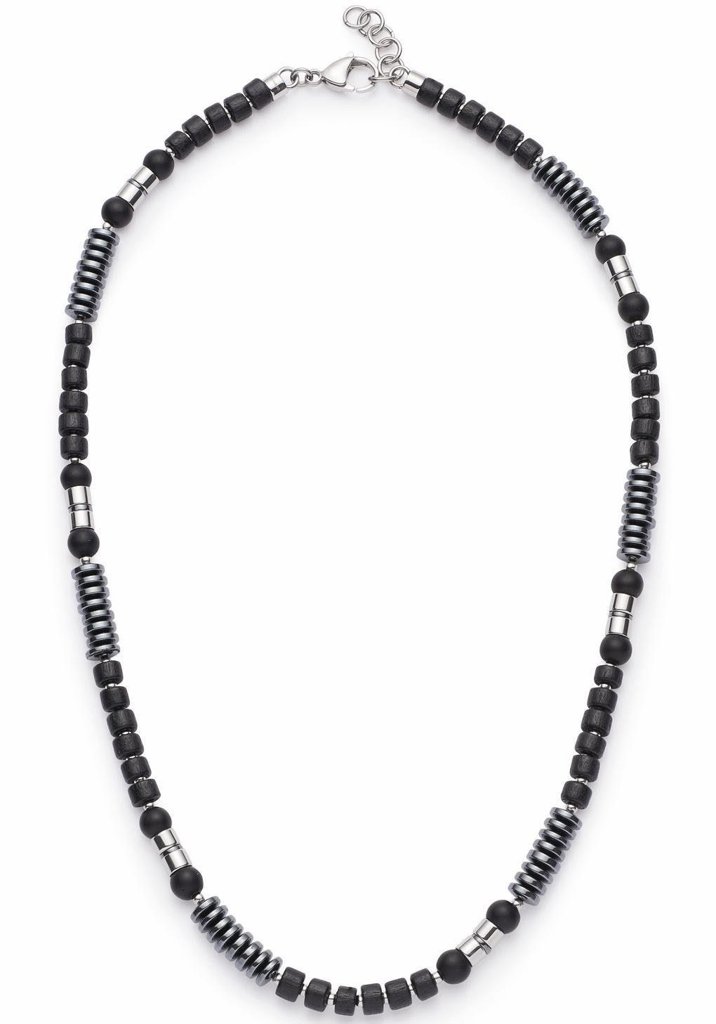 LEONARDO Edelstahlkette »Genua Men, 016559« mit Hämatit, Glas- und Holzperlen