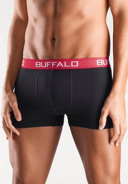 Herren Buffalo Microfaser-Boxer (4 Stück) mit Kontrastbund schwarz | 04893962065196