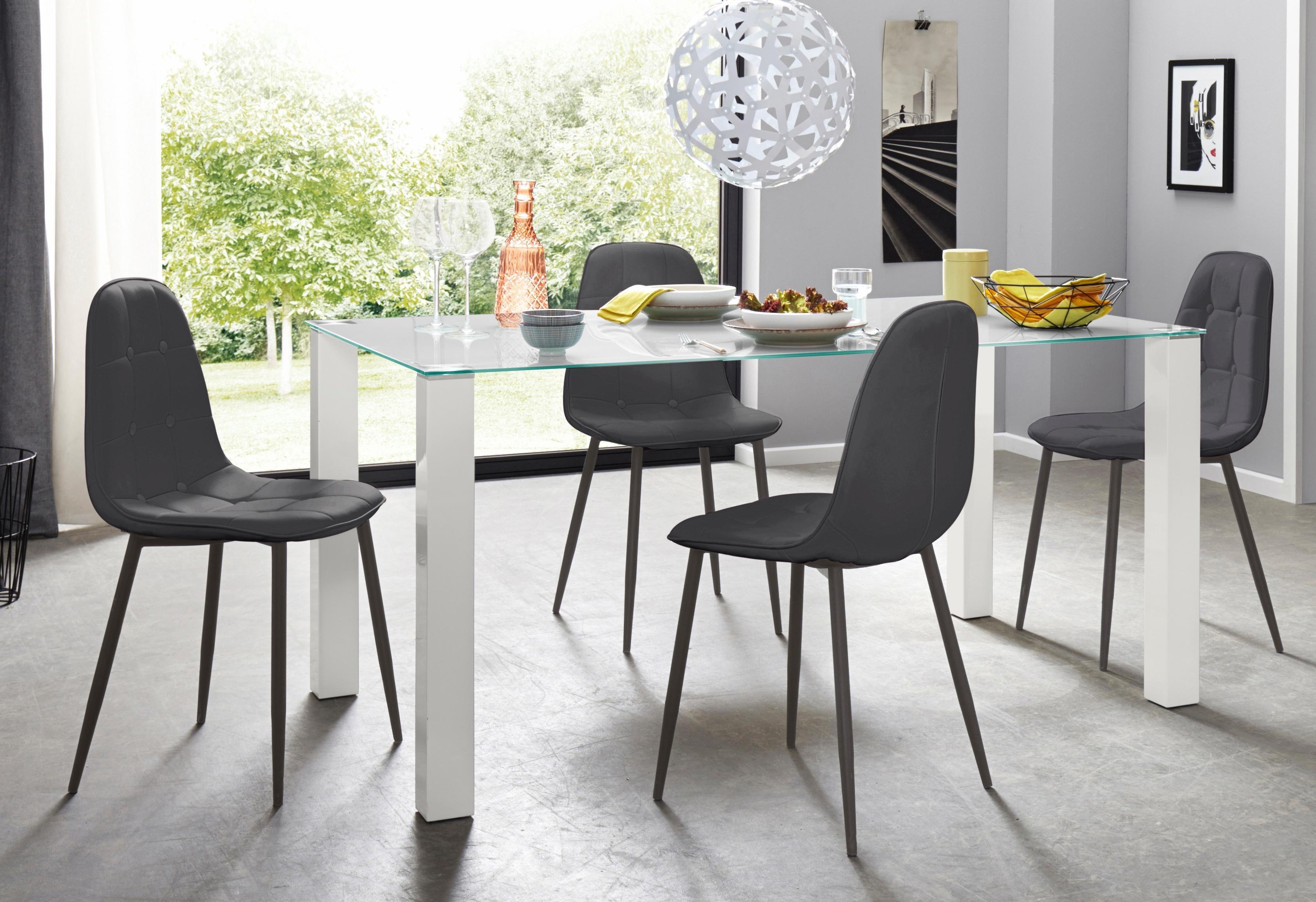 Essgruppe 5-teilig mit Glastisch 160 cm breit | Wohnzimmer > Tische > Glastische | Schwarz