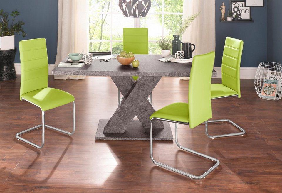 Essgruppe, Set, 5 tlg, mit 4 Stühlen und Tisch in Zement Optik online kaufen   OTTO