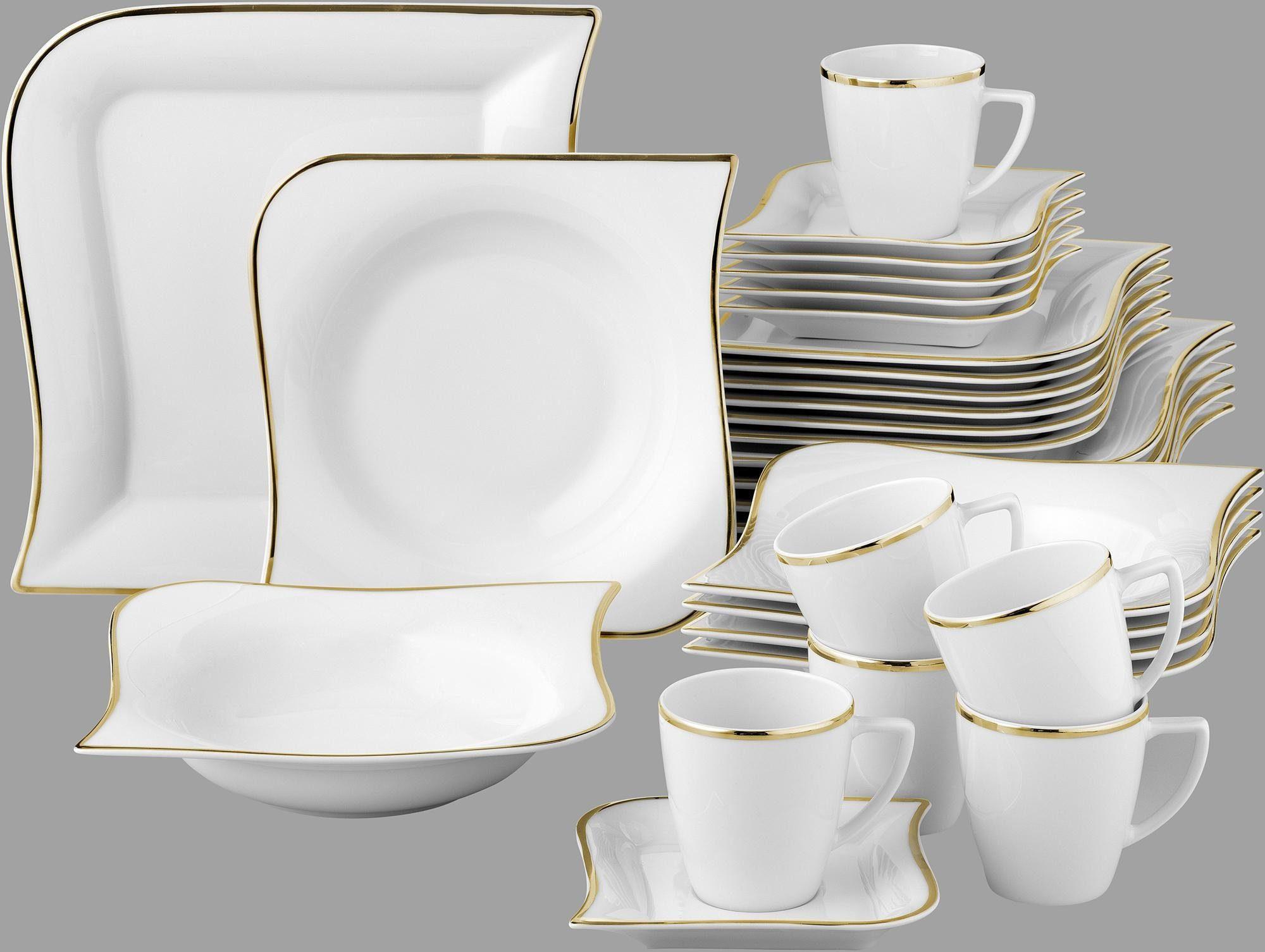 Van Well Kombiservice, Porzellan, 30 Teile, für 6 Personen, »Goldline«