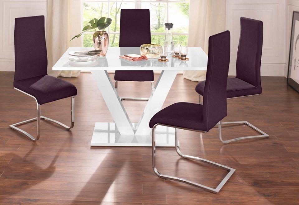 Essgruppe Set 4 Tlg Mit 4 Stühlen Und Tisch In Weiß