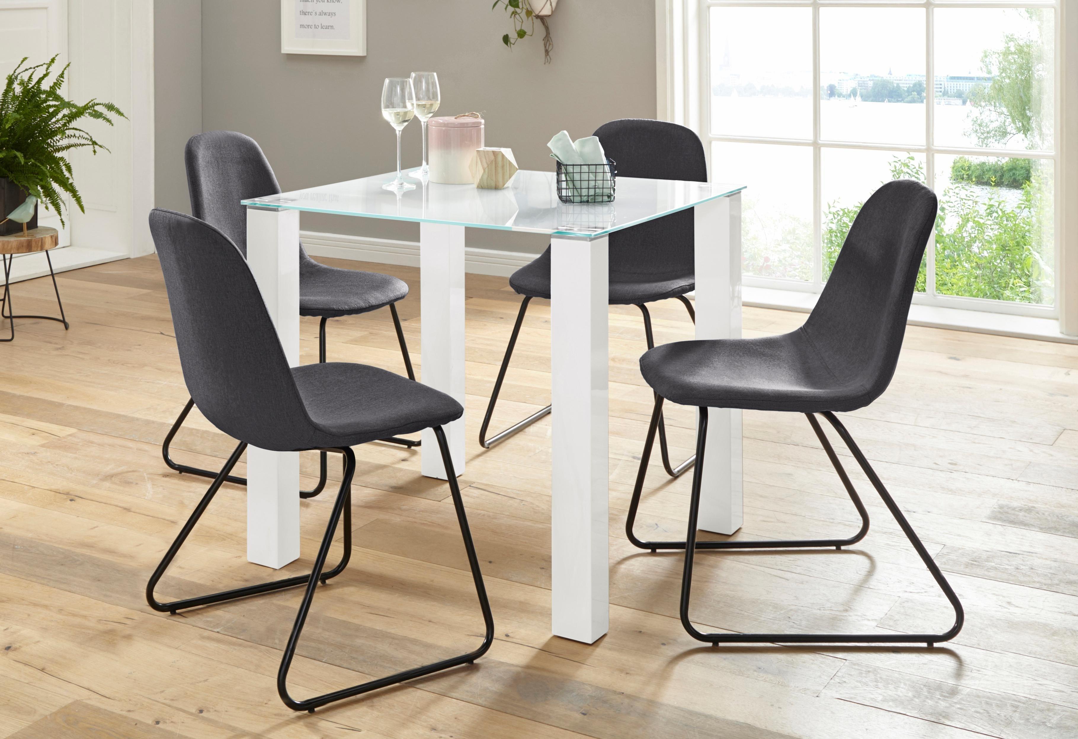 Essgruppe 5-teilig mit Glastisch 80 cm breit | Wohnzimmer > Tische > Glastische