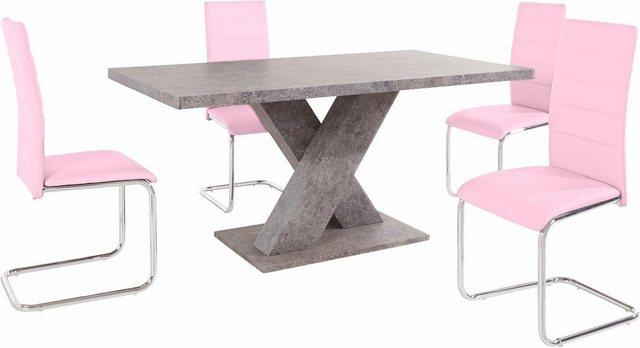 Essgruppen - Essgruppe, (Set, 5 tlg), mit 4 Stühlen und Tisch in Zement Optik  - Onlineshop OTTO
