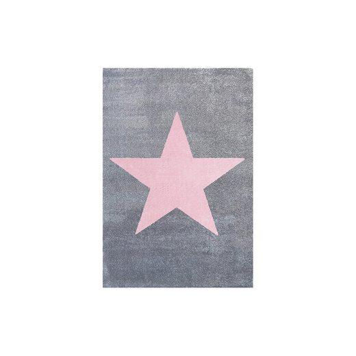 Happy Rugs Teppich, STAR silbergrau/rosa