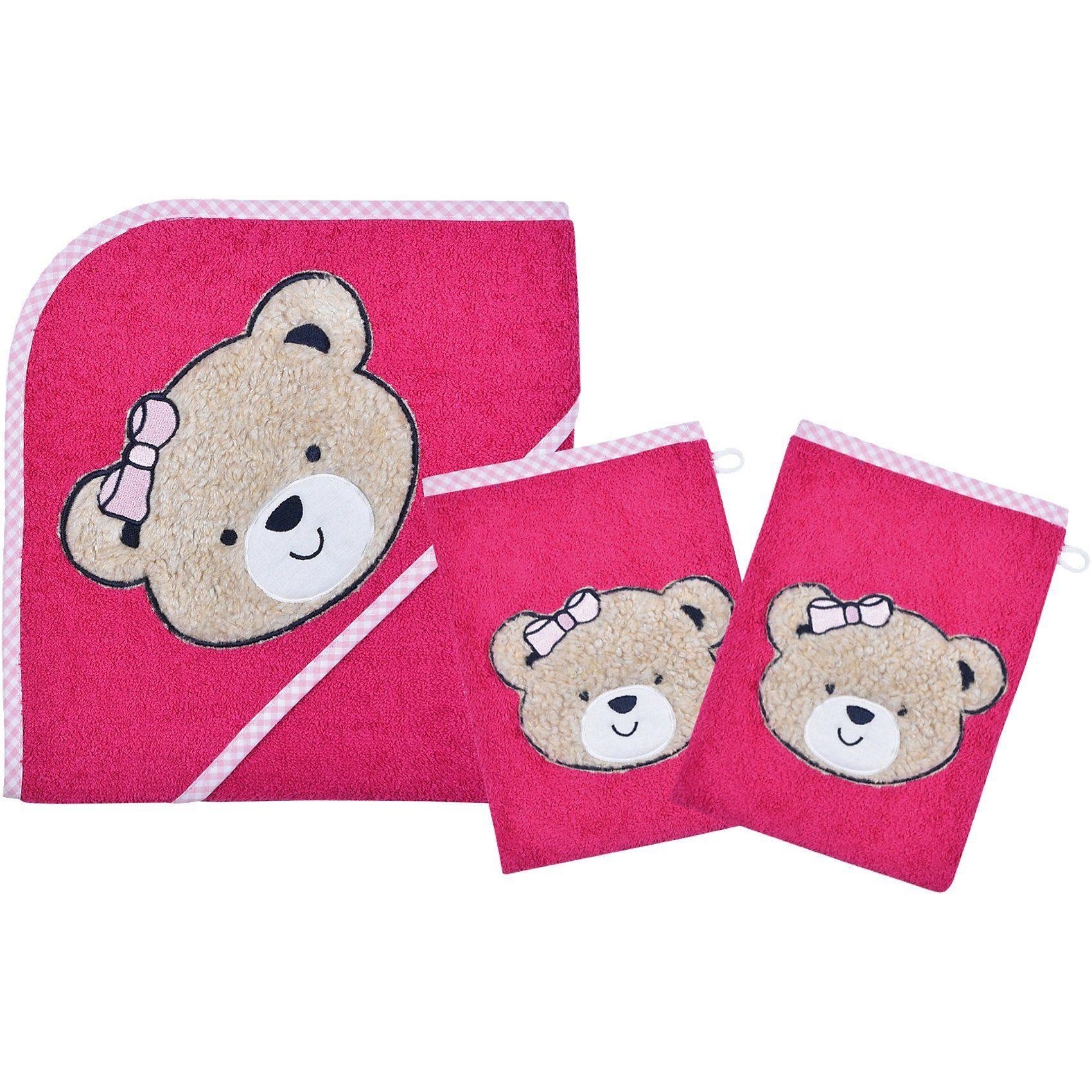 Wörner Set Kapuzenbadetuch mit 2 Waschlappen, Bärchen, pink, 80 x 8