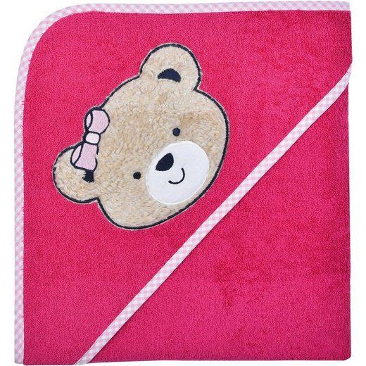 Wörner Kapuzenbadetuch XL, Bärchen, pink, 100 x 100 cm