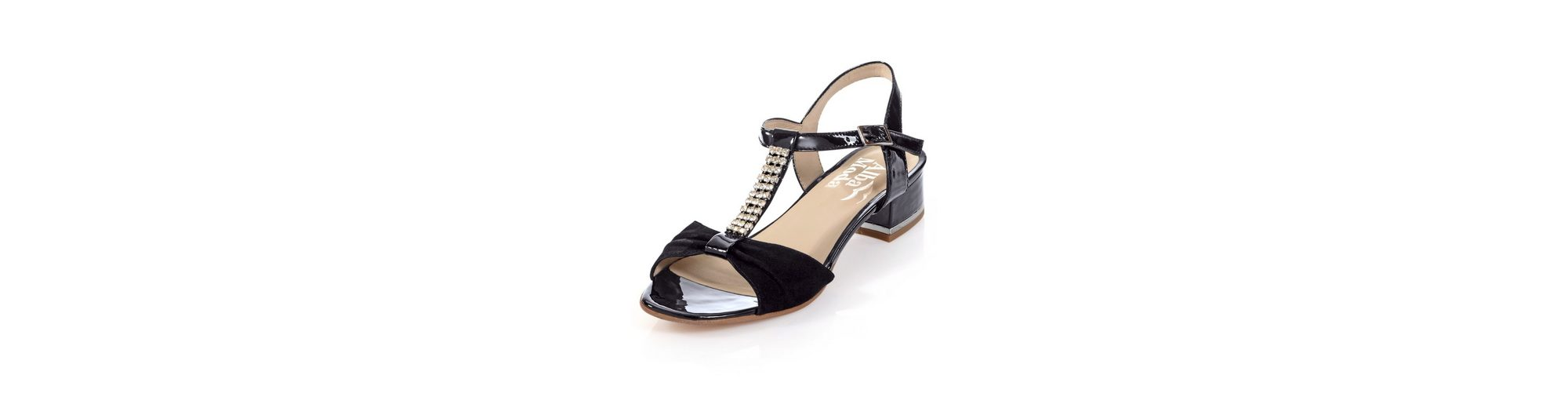 Alba Moda Sandalette aus edlem Velours- und Lackleder
