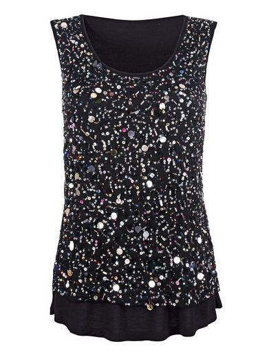Alba Moda Top With Sequin Embroidery