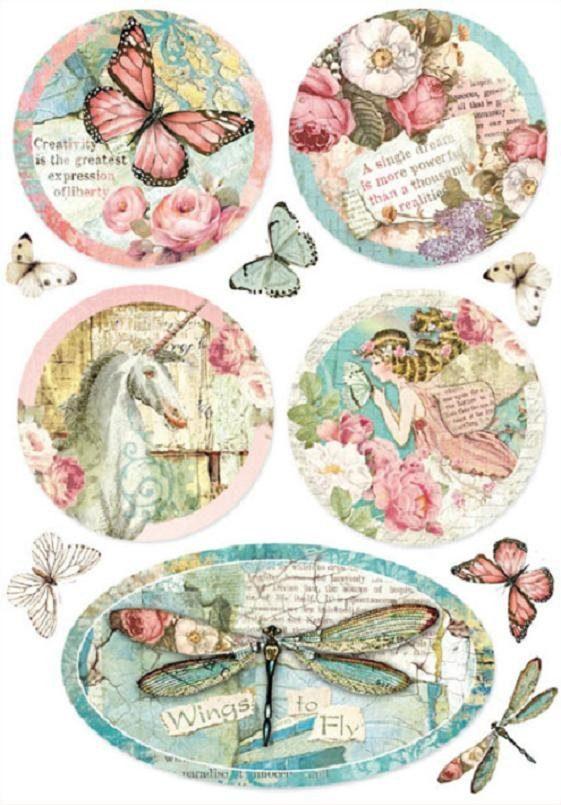 """Stamperia Motiv-Strohseide """"Pretty Spring"""" DIN A4"""