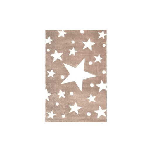 Happy Rugs Teppich, STARS beige/weiß