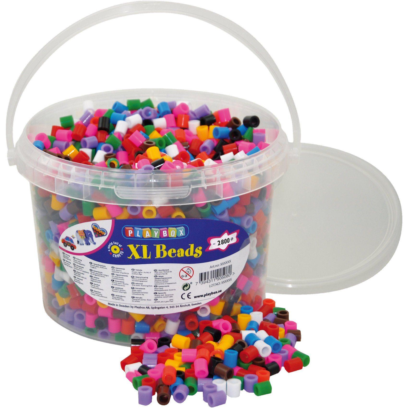 Playbox XL-Bügelperlen im Eimer, 10-Farben-Mix, 2.800 Stück