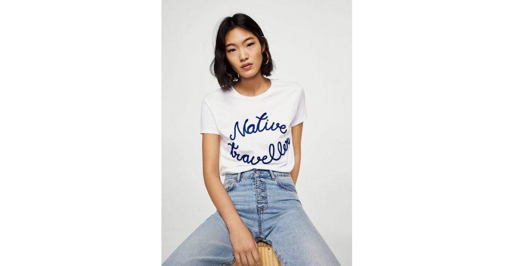 MANGO T-Shirt mit gestickter Aufschrift Rabatt Schnelle Lieferung Spielraum Extrem qIW4HDNOBJ